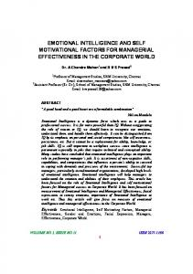 EMOTIONAL INTELLIGENCE AND SELF MOTIVATIONAL FACTORS FOR MANAGERIAL EFFECTIVENESS IN THE CORPORATE WORLD