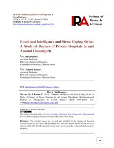 Emotional Intelligence and Stress Coping Styles: A Study of Doctors of Private Hospitals in and Around Chandigarh