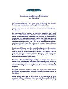Emotional Intelligence, Innovation and Creativity
