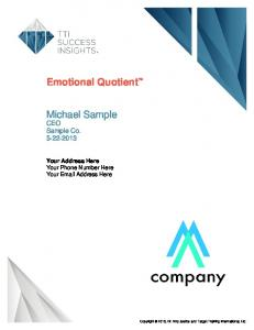 Emotional Quotient. Michael Sample. CEO Sample Co Your Address Here Your Phone Number Here Your  Address Here
