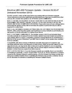 Emotiva UMC-200 Firmware Update Version (released November 2013)