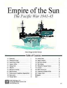 Empire of the Sun. The Pacific War Table of Contents. Empire of the Sun (v2.0) Game Design by Mark Herman
