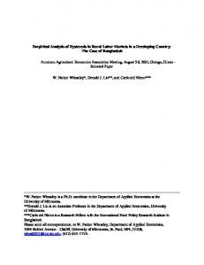 Empirical Analysis of Hysteresis in Rural Labor Markets in a Developing Country: The Case of Bangladesh