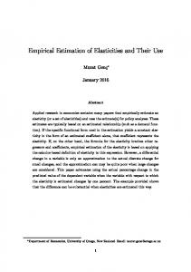 Empirical Estimation of Elasticities and Their Use