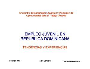 EMPLEO JUVENIL EN REPUBLICA DOMINICANA