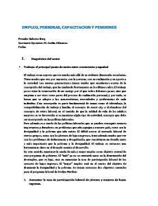 EMPLEO, PERSONAS, CAPACITACION Y PENSIONES