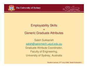 Employability Skills = Generic Graduate Attributes