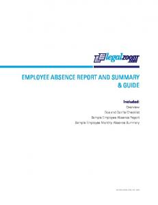 EMPLOYEE ABSENCE REPORT AND SUMMARY & GUIDE