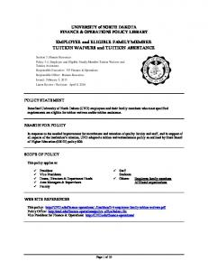 EMPLOYEE and ELIGIBLE FAMILY MEMBER TUITION WAIVERS and TUITION ASSISTANCE
