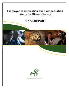 Employee Classification and Compensation Study for Blount County FINAL REPORT