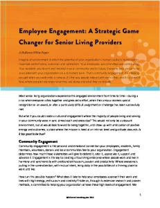 Employee Engagement: A Strategic Game Changer for Senior Living Providers