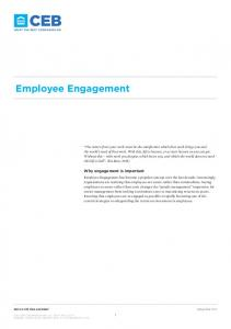 Employee Engagement. Why engagement is important