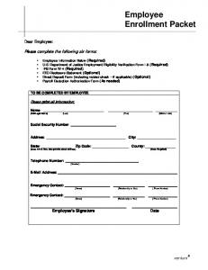 Employee Enrollment Packet