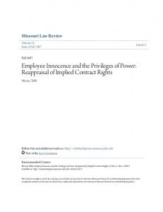 Employee Innocence and the Privileges of Power: Reappraisal of Implied Contract Rights