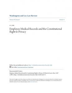 Employee Medical Records and the Constitutional Right to Privacy