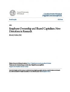 Employee Ownership and Shared Capitalism: New Directions in Research