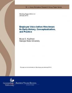 Employee Voice before Hirschman: Its Early History, Conceptualization, and Practice