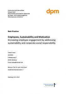 Employees, Sustainability and Motivation Increasing employee engagement by addressing sustainability and corporate social responsibility