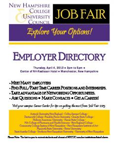 EMPLOYER DIRECTORY. Explore Your Options!
