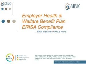 Employer Health & Welfare Benefit Plan ERISA Compliance