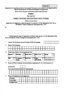 EMPLOYERS REGISTRATION FORM