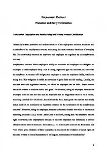 Employment Contract. Probation and Early Termination