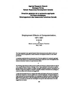 Employment Effects of Computerization,