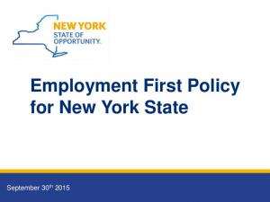 Employment First Policy for New York State