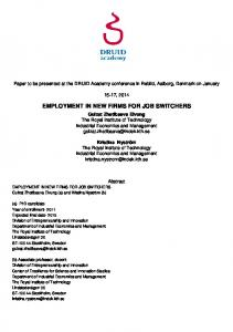 EMPLOYMENT IN NEW FIRMS FOR JOB SWITCHERS