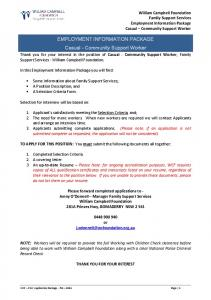 EMPLOYMENT INFORMATION PACKAGE Casual - Community Support Worker