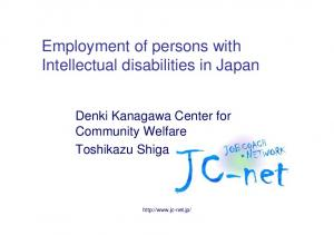 Employment of persons with Intellectual disabilities in Japan