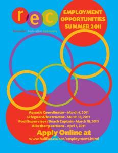 EMPLOYMENT OPPORTUNITIES SUMMER 2011