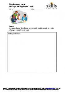 Employment pack Writing a Job Application Letter
