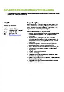 EMPLOYMENT SERVICES FOR PERSONS WITH DISABILITIES