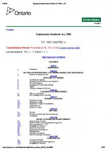 Employment Standards Act, 2000 S.O. 2000, CHAPTER 41