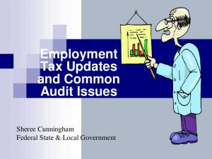 Employment Tax Updates and Common Audit Issues. Sheree Cunningham Federal State & Local Government