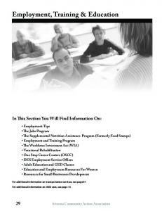 Employment, Training & Education