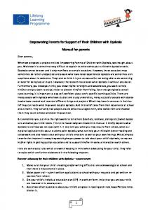 Empowering Parents for Support of Their Children with Dyslexia. Manual for parents