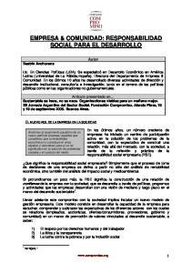 EMPRESA & COMUNIDAD: RESPONSABILIDAD SOCIAL PARA EL DESARROLLO