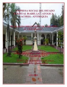 EMPRESA SOCIAL DEL ESTADO HOSPITAL ISABEL LA CATOLICA CACERES - ANTIOQUIA