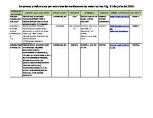 Empresas productoras por contrato de medicamentos veterinarios Vig. 31 de julio de 2015