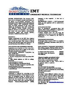 EMT EMERGENCY MEDICAL TECHNICIAN