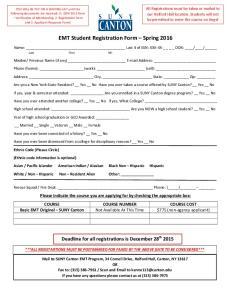 EMT Student Registration Form Spring 2016