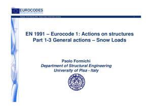 EN 1991 Eurocode 1: Actions on structures Part 1-3 General actions Snow Loads