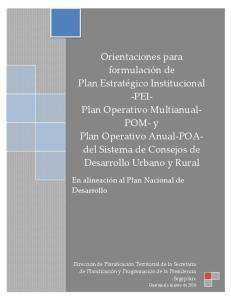 En alineación al Plan Nacional de Desarrollo