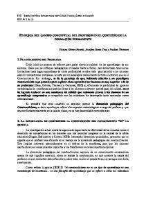 EN BUSCA DEL CAMBIO CONCEPTUAL DEL PROFESOR EN EL CONTEXTO DE LA