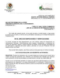 EN EL AREA DE INSPECCIONES Y VERIFICACIONES