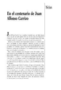 En el centenario de Juan Alfonso Carrizo