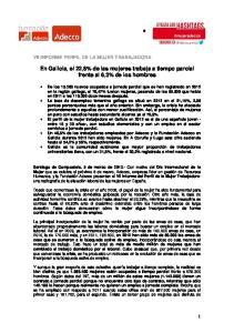 En Galicia, el 22,8% de las mujeres trabaja a tiempo parcial frente al 6,3% de los hombres