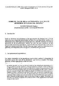 EN LOS ADVERBIOS DE LUGAR DEL ESPANOL*